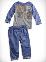 GUESS Baby Boy Raglan Logo Tee and Pants Set (12-24M)
