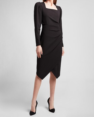 Express Square Neck Puff Sleeve Sheath Dress