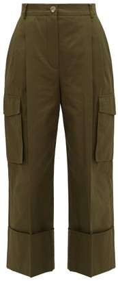 Alexander McQueen Pleated Wide-cuff Cotton-canvas Cargo Trousers - Khaki