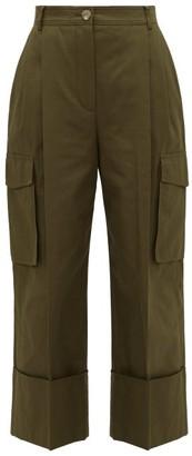 Alexander McQueen Pleated Wide-cuff Cotton-canvas Cargo Trousers - Womens - Khaki