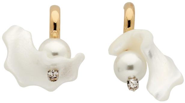 Simone Rocha Gold Mother-Of-Pearl Hoop Earrings