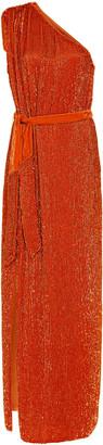 Retrofãate RetrofAte Vivien Belted Cold-Shoulder Georgette Dress