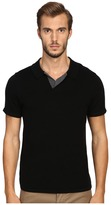 Vince Wool Silk Jersey Short Sleeve Polo with Tipping