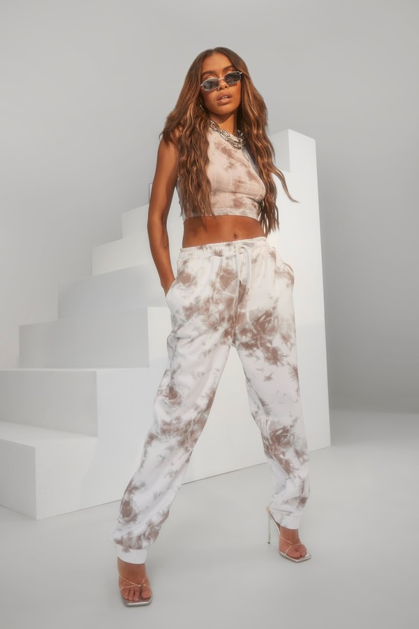 Thumbnail for your product : boohoo Mesh Tie Dye vest & Jogger Set
