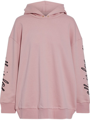 Stella McCartney All Is Love Embroidered French Cotton-terry Hoodie
