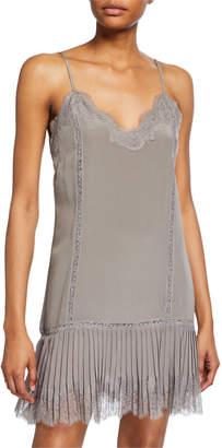 Gold Hawk Pleated-Panel Lace-Trim Night Dress