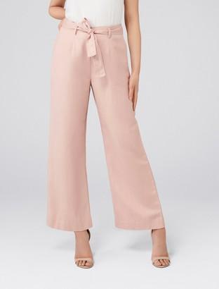 Forever New Lizzie Petite Linen Blend Pants - Blush - 12