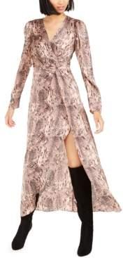 Bar III Becca Tilley x Snake-Print Twist-Front Dress, Created For Macy's