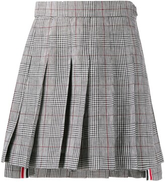 Thom Browne Check Print Pleated Skirt