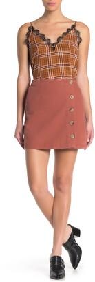 Blu Pepper Button Detail Mini Skirt