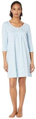 Carole Hochman Soft Jersey 3/4 Sleeve Sleepshirt (Aqua Multi Ditsy) Women's Pajama
