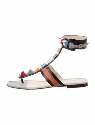 Fendi Leather Colorblock Pattern Gladiator Sandals Black