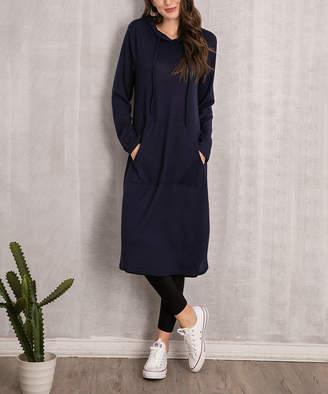 Beyond This Plane Women's Sweatshirts and Hoodies Navy - Navy Hooded Kangaroo-Pocket Tunic - Women & Plus