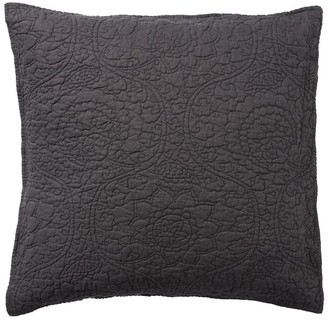 Pottery Barn Belgian Flax Linen Floral Stitch Quilted Sham