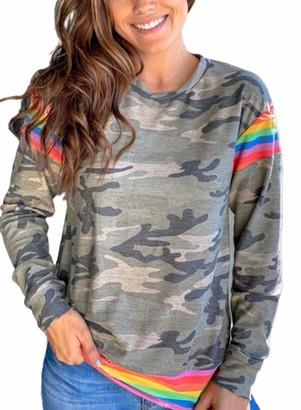 CORAFRITZ Women's Long Sleeve Hoodie Camo Crew Neck Thin Sweatshirt Rainbow Color Top Winter