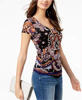 INC International Concepts I.n.c. Petite Printed Double-Layer Ruched Top, Created for Macy's
