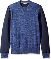 Calvin Klein Jeans Men's Space Dyed Color Block Crew Neck Sweatshirt