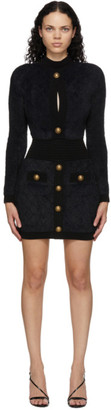 Balmain Black Fluffy Diamond Long Sleeve Dress