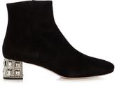 Miu Miu Crystal-embellished heel suede ankle boots