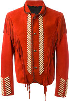 Roberto Cavalli embroidered fringed jacket - men - Cotton/Calf Leather/Lamb Skin/Stone - 52
