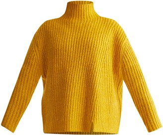 Paisie Funnel Neck Chunky Knit Jumper With Wide Ribs In Yellow Marl
