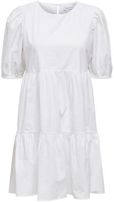 Only Karla Puff Sleeve White Cotton Mini Dress