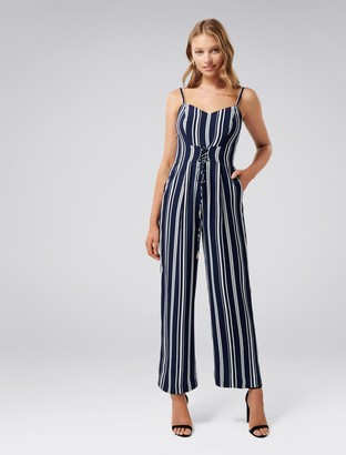 Forever New Rosa Petite Stripe Lace-Up Jumpsuit - Navy/Porcelain Stripe - 8