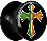 Body Candy Black Acrylic Irish Cross Saddle Plug Pair 0 Gauge