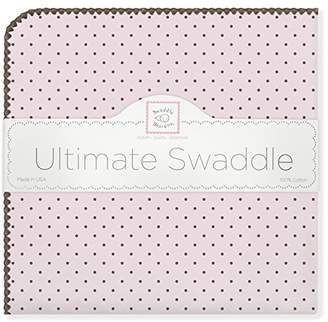 Swaddle Designs Ultimate Winter Swaddle, X-Large Receiving Blanket, Made in USA, Premium Cotton Flannel, Brown Polka Dots on Pastel Pink (Mom's Choice Award Winner)