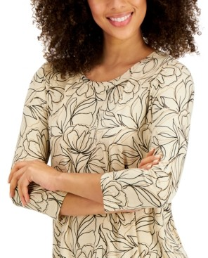 JM Collection Printed 3/4-Sleeve T-Shirt, Created for Macy's