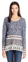 Jolt Women's Border Print Round Neck Pull Over Sweater with Lace Hem