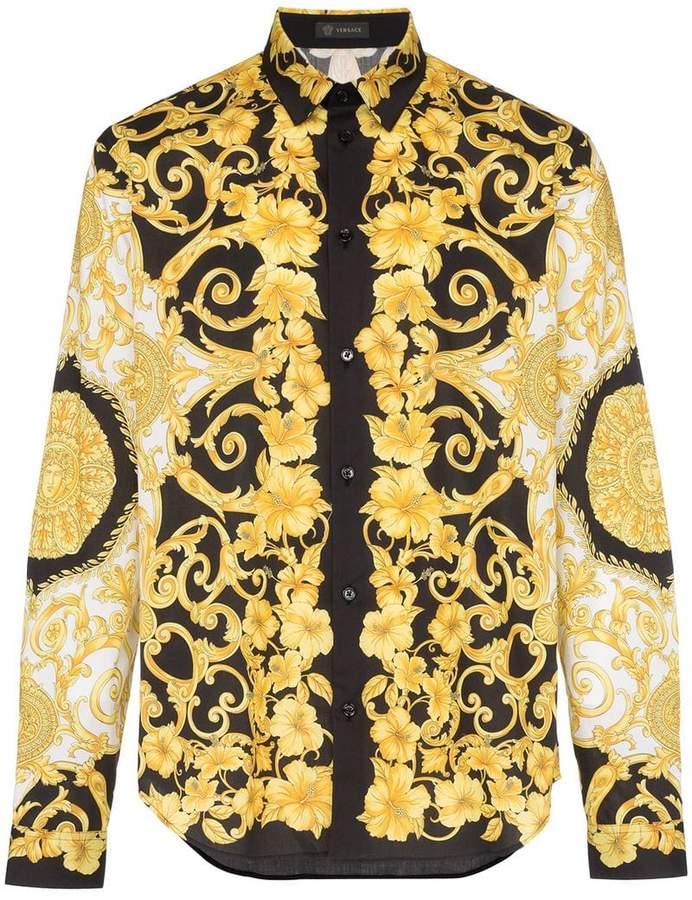 Versace baroque print cotton shirt