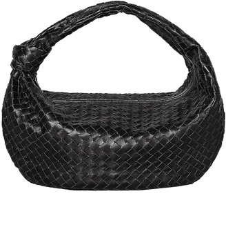 Bottega Veneta Large Leather Woven Shoulder Bag in Black & Silver | FWRD