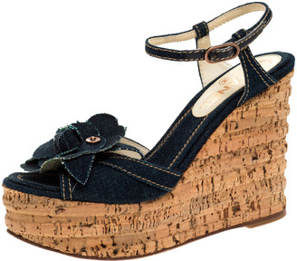 Chanel Blue Denim Camellia Espadrille Cork Wedge Ankle Strap Sandals Size 36.5