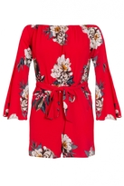 Quiz Red And Beige Crepe Floral Playsuit
