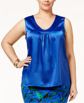 Kasper Plus Size V-Neck Satin Shell