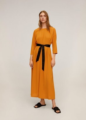 MANGO Bow midi dress mustard - 4 - Women
