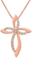 Silver Cross FINE JEWELRY 1/10 C.T T.W Diamond 14K Rose Gold-Plated Sterling Pendant Necklace