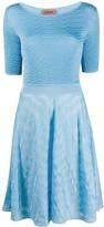 Missoni short sleeve contrast knit dress