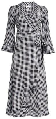 Ganni Check Wrap Dress
