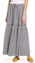 Caslon Drawstring Ruffle Cotton Maxi Skirt