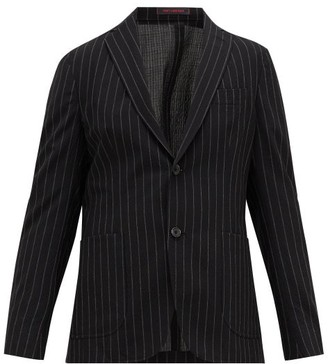 The Gigi - Pinstriped Wool-blend Seersucker Suit Jacket - Black White