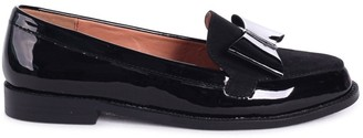 Linzi JAMIMA - Black Patent and Suede Classic Slip On Loafer With Tassel Detail