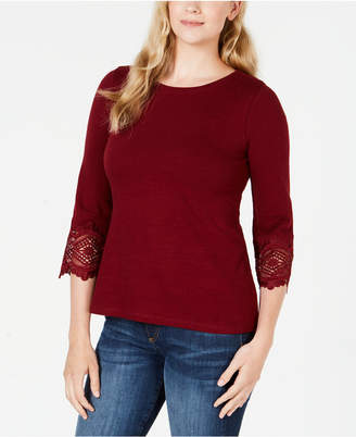 Charter Club Petite Cotton Lace-Trim Top