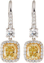Neiman Marcus Diamonds 18k Fancy Yellow & White Diamond Drop Earrings, 4.00tcw