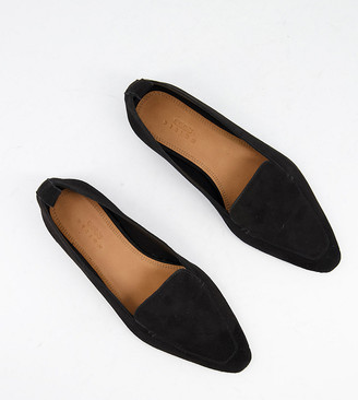 ASOS DESIGN wide fit Miley suede loafers in black