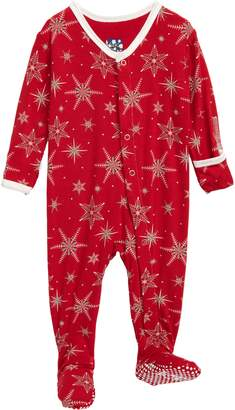 Kickee Pants Snowflakes Jersey Footie