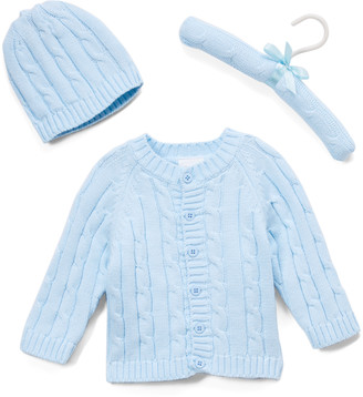 Baby Mode Signature Boys' Cardigans BLUE - Blue Cable-Knit Cardigan & Beanie - Newborn