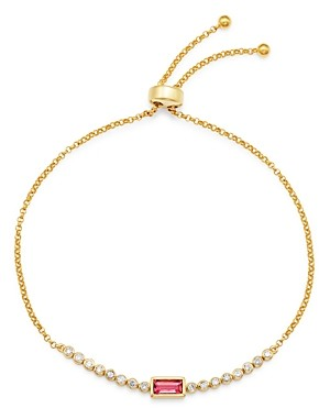 Bloomingdale's Pink Tourmaline & Diamond Bolo Bracelet in 14K Yellow Gold - 100% Exclusive