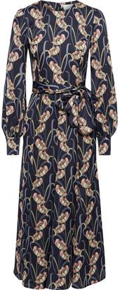 Goat Jemima Belted Floral-print Satin-crepe Midi Dress